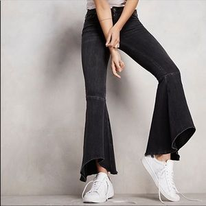 Free People Ruffle Crop Bell Bottom Jeans
